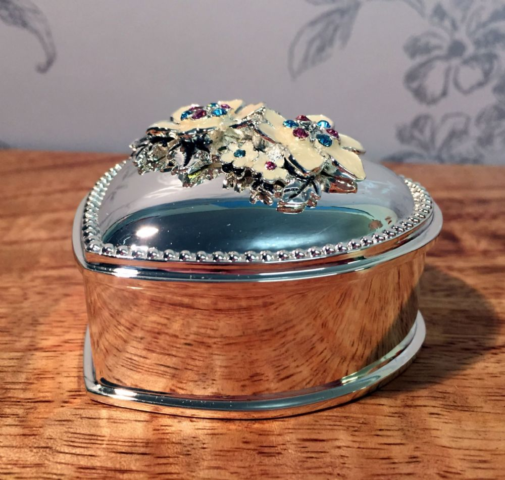 Heart Mirrored Trinket Box with Enamel Flower Embellishment